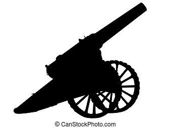 Artillery guns on a white background