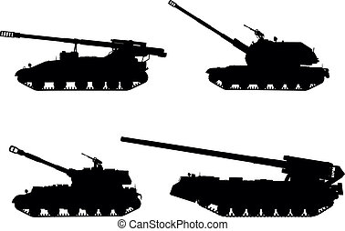 Artillery - Self-propelled howitzer vector silhouettes set.