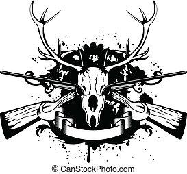 artiodactyl, cruzado, armas de fuego, cráneo