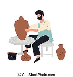 artisan, bol, confection, homme, potier, céramique, pot.