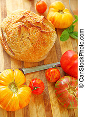 Artisan bread with heirloom tomatoes