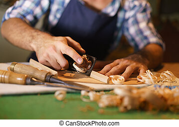 Artisan Lute Maker Chiseling Stringed Instrument Classical...