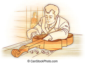 Artisan luthier isolated - Classic illustration, artisan...
