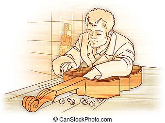 Artisan luthier isolated - Classic illustration, artisan...