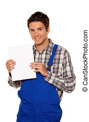Artisan, plumber, construction worker with empty poster - A...