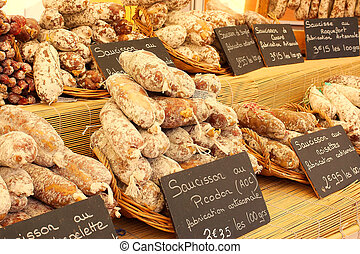 Artisan sausage for sale in the market, Provence, France. -...