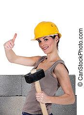 artisane, haut, signe, pouces, tenue, confection, marteau