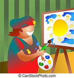 artist at work - painting