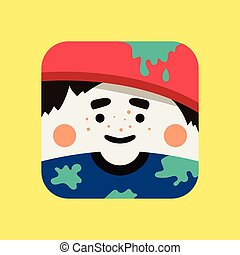Artist avatar illustration. Trendy painter squared icon with shadows in flat style.