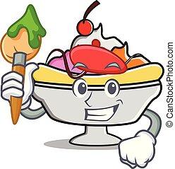 Artist banana split character cartoon vector illustration