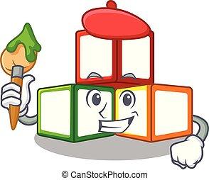 Artist bright toy block bricks on cartoon