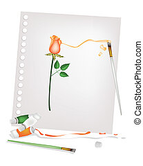 Artist Brush with Paint Tubes Drawing A Red Rose