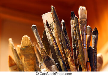 Artist Brushes - A lot of paint brushes from an artist\'s...