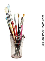 Artist Brushes - Water colour brushes at the ready in an old...
