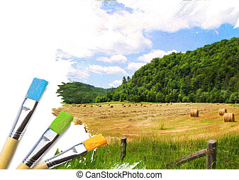 Artist brushes with a half finished painted rural landscape