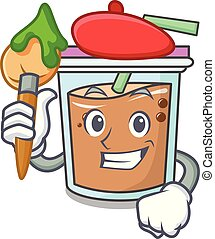 Artist bubble tea character cartoon