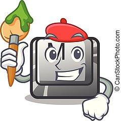 Artist button M on a keyboard mascot