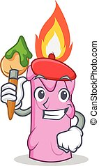 Artist candle character cartoon style vector illustration