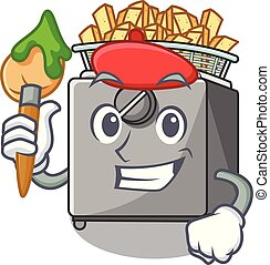 Artist cartoon deep fryer in the kitchen vector illustration