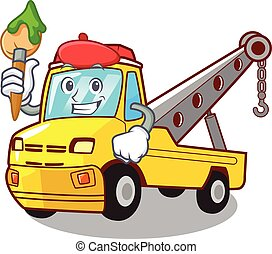 Artist Cartoon tow truck isolated on rope
