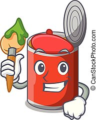 Artist character canned food isolated on cartoon vector...
