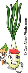 Artist character green onion on the table vector...