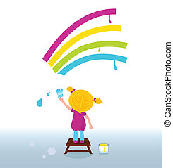 Artist child painting rainbow - Blond hair girl painting ...