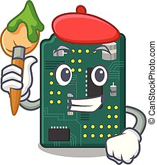 Artist circuit board pcb isolated with mascot vector...