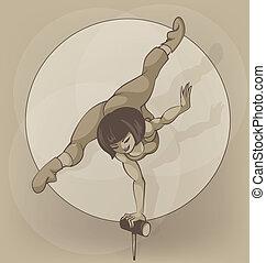 artist., cirkus, silhuet, inkpen., balancere, pinup