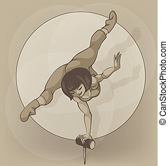 artist., cirque, silhouette, inkpen., équilibrage, pinup