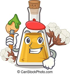 Artist cottonseed oil in a mascot bottle vector illustration