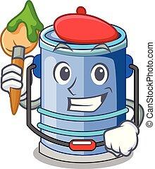 Artist cylinder bucket Cartoon of for liquid