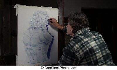 artist making a pastel copy of a greek statue