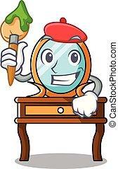 Artist dressing table character cartoon
