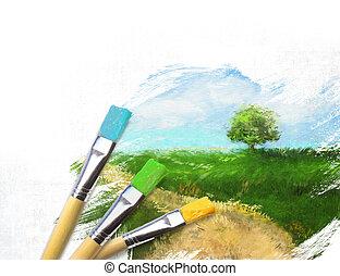 artist, färdig, halvt, landskap, borstar, kanfas, målad