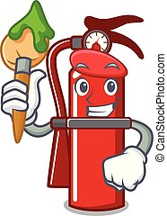 Artist fire extinguisher character cartoon