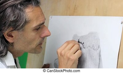 artist making a copy of ancient greek statue, charcoal...
