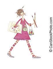 artist girl - Watercolor illustration