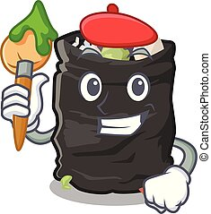 Artist grabage bag isolated with the mascot vector illustration