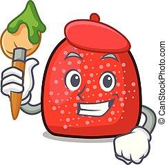 Artist gumdrop character cartoon style vector illustration