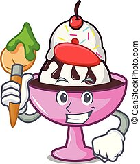 Artist ice cream sundae character cartoon vector...