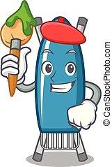 Artist iron board character cartoon vector illustration