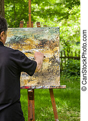 Artist is painting an abstract picture