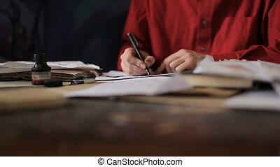 Artist is writing a letter