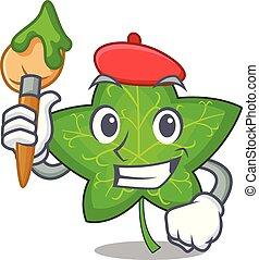 Artist ivy leaf isolated on character cartoon