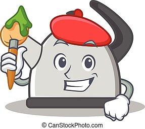 Artist kettle character cartoon style vector illustration