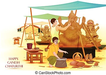 Artist making statue of Lord Ganesha - easy to edit vector...
