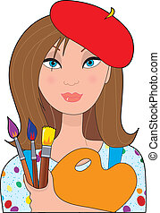A young female caucasian artist holding a palette and brushes