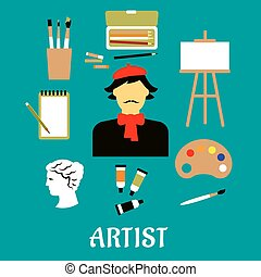 Artist or craftsman with art icons