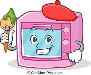 Artist oven microwave character cartoon